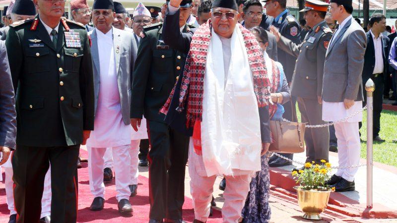 प्रधानमन्त्री केपी शर्मा ओली लुम्बिनी प्रदेशको राजधानी दाङ जाँदै