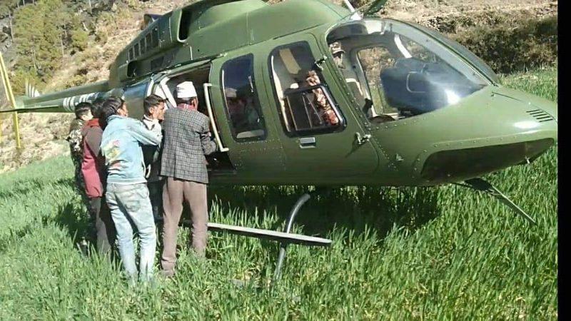 वडाध्यक्ष बमको पहलमा पलाताकी एक सुत्केरीको हेलिपप्टर मार्फत् उद्दार