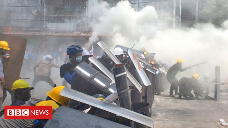 म्यानमारको सैनिक शासकविरुद्ध प्रदर्शनमा उत्रिएकाहरुमाथि गोली चलाउँदा  ३८ जना मारिए